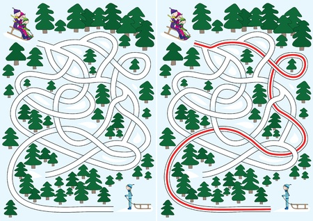 Winter maze for kids with a solution