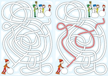 Winter maze for kids with a solution Vector