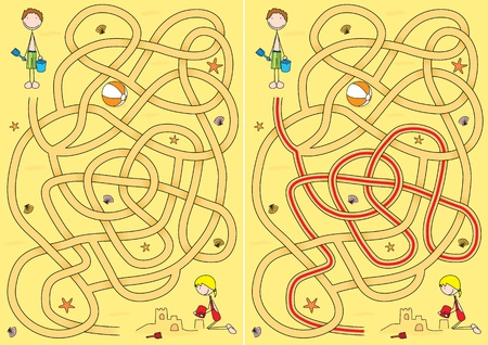 Beach maze for kids with a solution Illustration