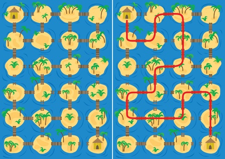 Islands maze for kids with a solution Vector