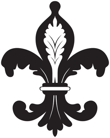Black and white illustration of fleur de lis
