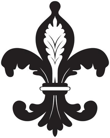 heraldic symbol fleur de lis: Black and white illustration of fleur de lis