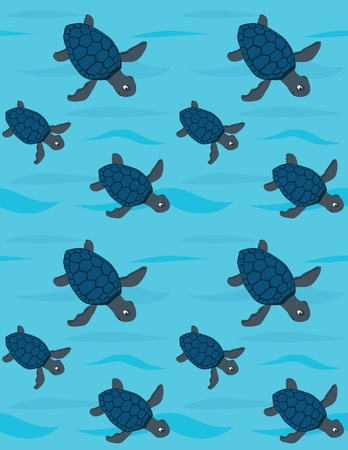 Seamless pattern made of blue sea turtles Vector