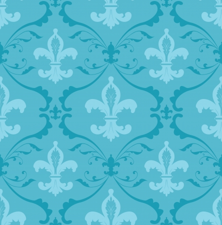 Seamless pattern made of floral ornaments and fleur de lis