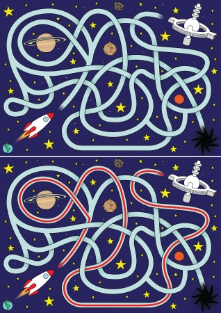 Space rocket maze for kids with a solution
