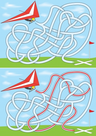 Hang gliding maze for kids with a solution Illustration