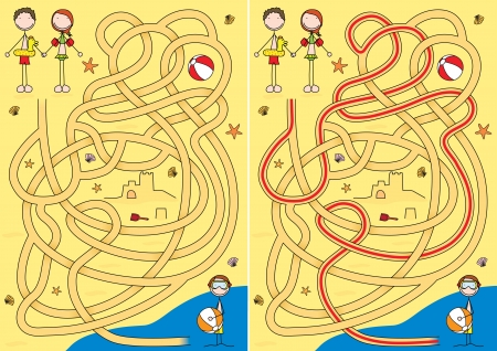 Summer maze for kids with a solution Vector