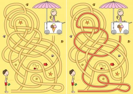 Ice-cream labyrinthe pour les enfants avec une solution