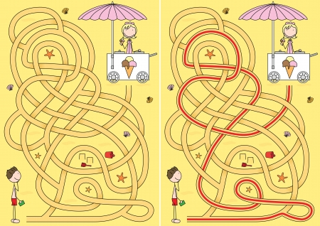 Ice-cream maze for kids with a solution Vector