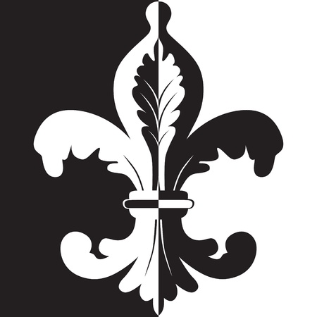 Black and white illustration of fleur de lis Vector