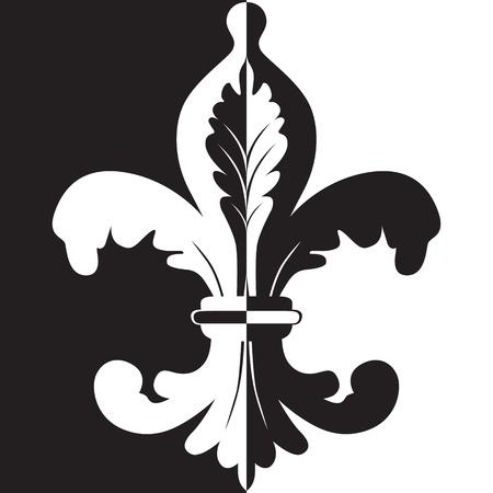 Illustration noire et blanche de fleur de lis Illustration