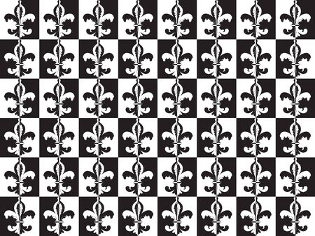 Fleur de lis optical black and white seamles wallpaper Vector