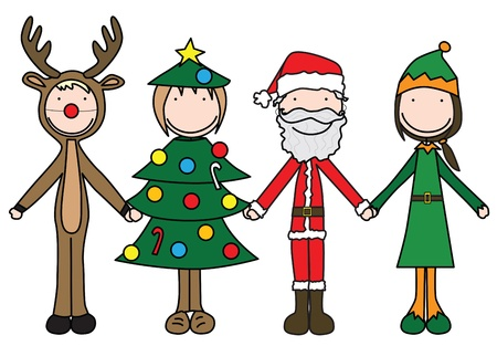 Illustration of four kids holding hand in Christmas costumes Vector