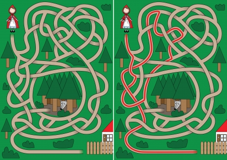 Little Red Riding Hood maze for kids with a solution Vector