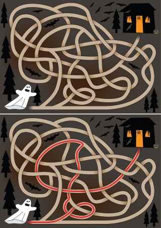 Ghost maze for kids with a solution Stock Vector - 15628928