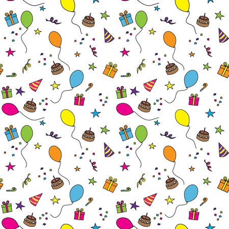 birthday candle: Seamless party pattern composed of colorful balloons, stars, cakes, and presents