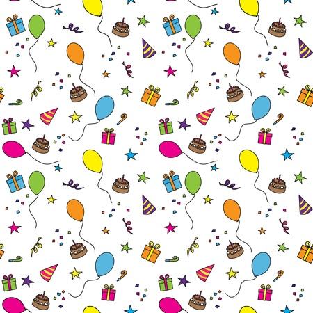 velitas de cumpleaños: Seamless pattern compuesto de globos de colores, estrellas, pasteles y regalos