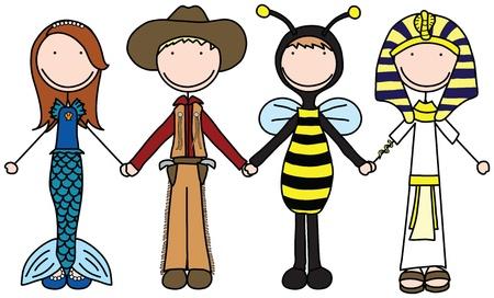 Illustration de quatre enfants se tenant la main dans des costumes