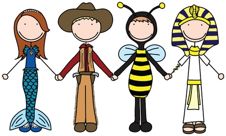 Illustration of four kids holding hands in costumes Illustration