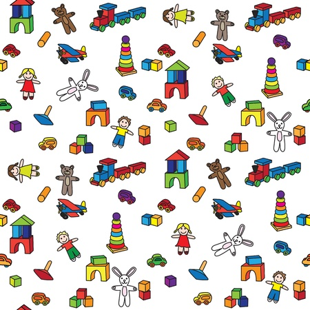 wooden doll: Seamless pattern made of illustration of toys