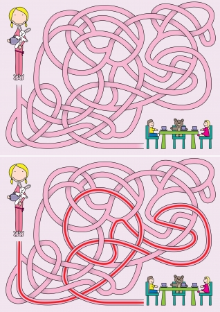 Little girl maze for kids with a solution