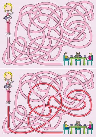 Petite fille labyrinthe pour les enfants avec une solution