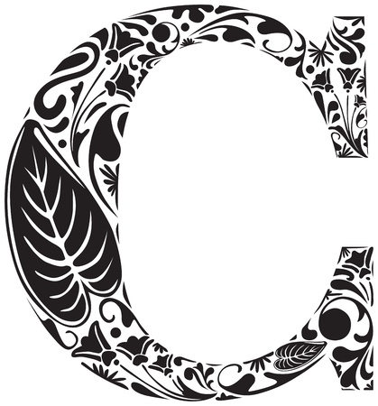 initial: Floral initial capital letter C Illustration