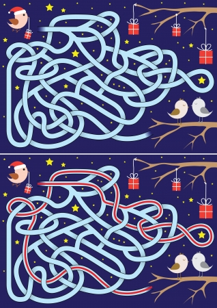 Christmas maze for kids with a solution