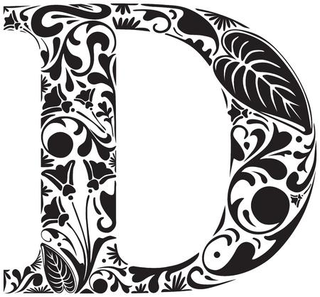 letras negras: Floral inicial may�scula D Vectores