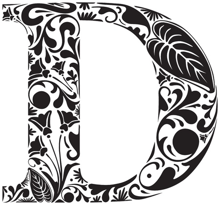 decorative letter: Floral initial capital letter D Illustration