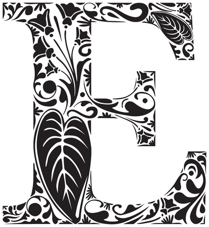 initial: Floral initial capital letter E Illustration