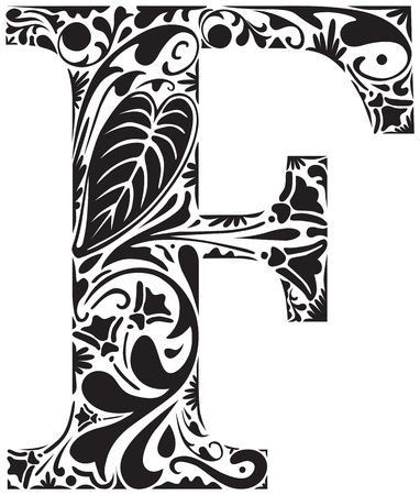 Floral F majuscule initiale