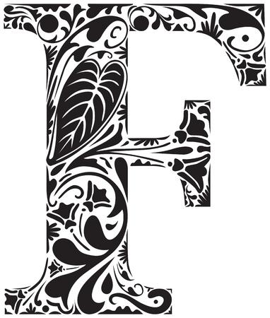 Floral capital inicial letra F