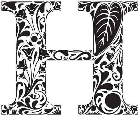 Floral initial capital letter H