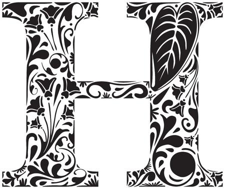 Floral initiale H majuscule Illustration