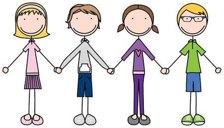 four friends: Illustration of four kids holding hands