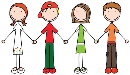 Illustration of four kids holding hands Vector