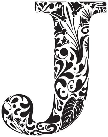 Floral initial capital letter J Illustration