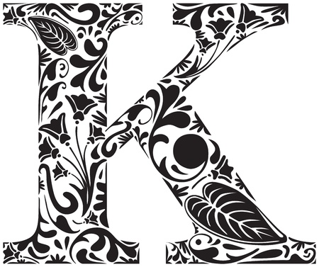 initial: Floral initial capital letter K