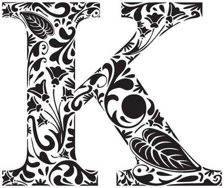 letter k: Floral initial capital letter K