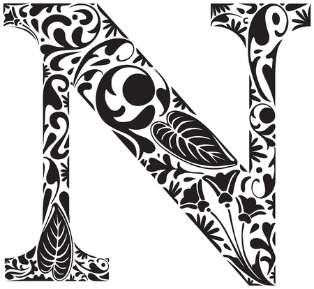 decorative letter: Floral initial capital letter N