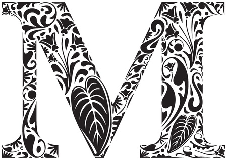 Floral initial capital letter M Vector