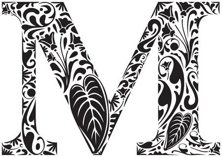 Floral lettre initiale M de capital Illustration