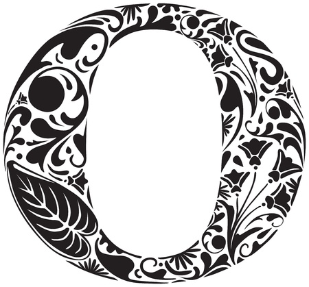 Floral initial capital letter O Vector