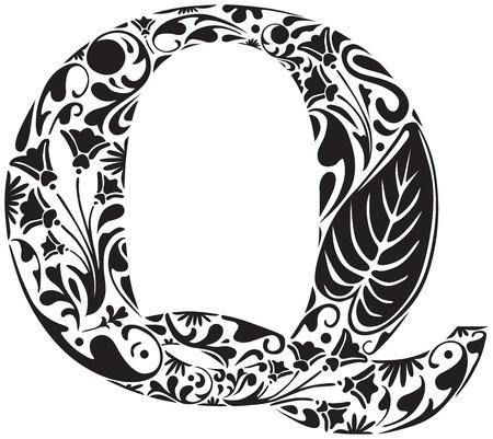 q: Floral iniziale capitale lettera Q Vettoriali