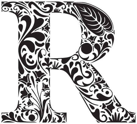 letter r: Floral initial capital letter R