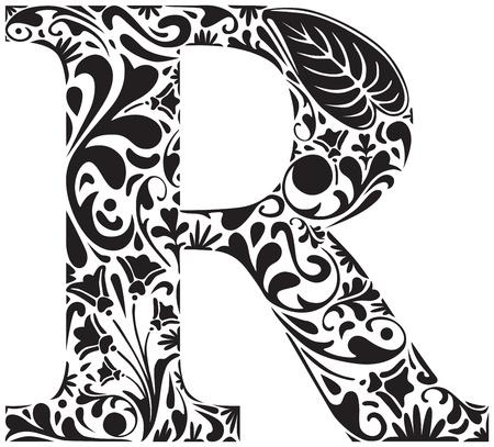initial: Floral iniziale maiuscola R Vettoriali
