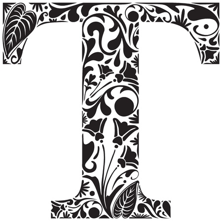 initial: Floral initial capital letter T