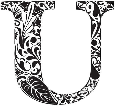 initial: Floral initial capital letter U Illustration