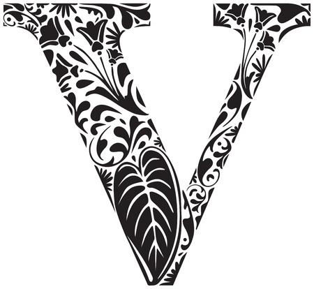 Floral initial capital letter V Illustration